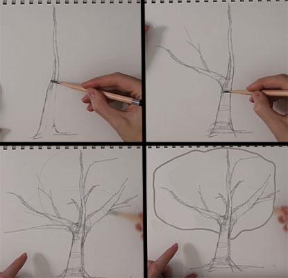 Поэтапный рисунок дерева