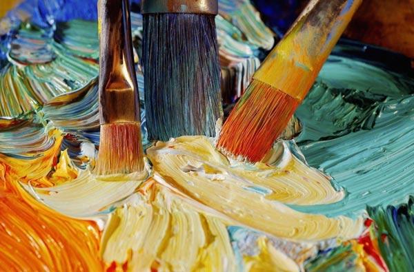 Благодаря частичному смешиванию масляной краски можно получить уникальный эффект