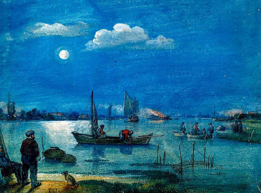 рыбаки в лунном свете
