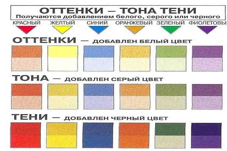 Как получить оттенки цветов: смешиваем краску с белым, серым или черным