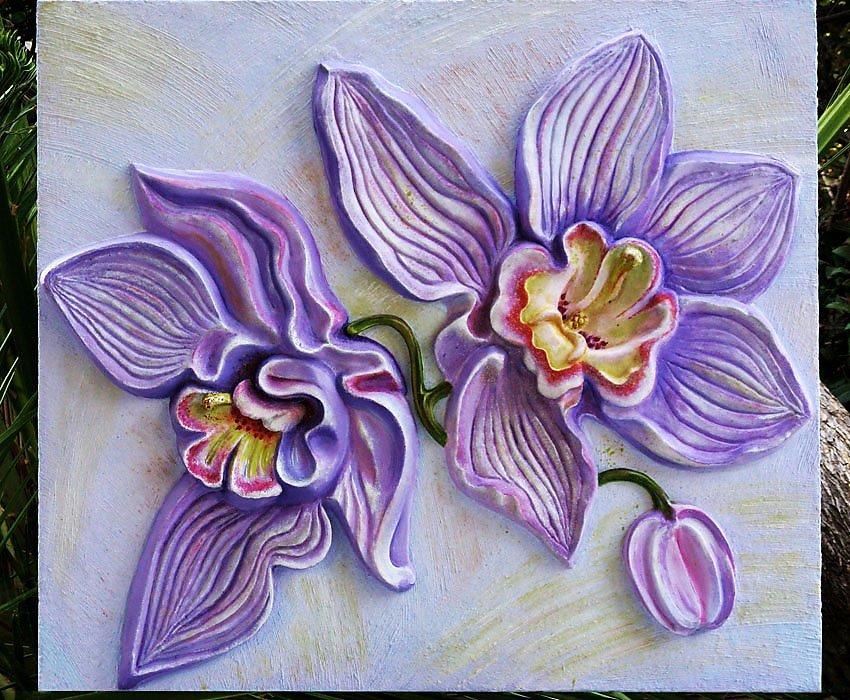 Объемные цветы из шпаклевки