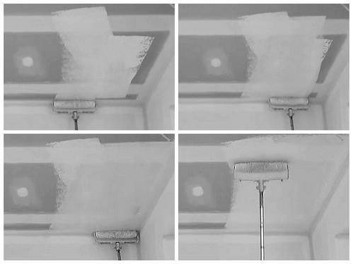 как покрасить потолок без разводов