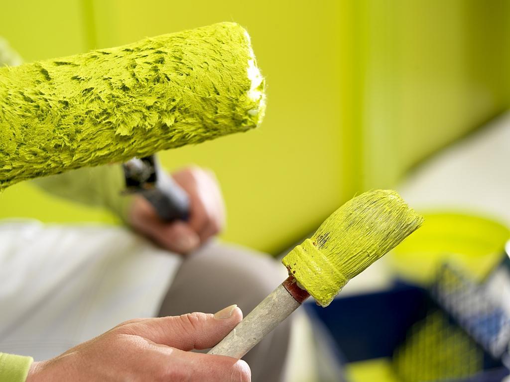 пример применения водоэмульсионной краски в отделке стен комнаты