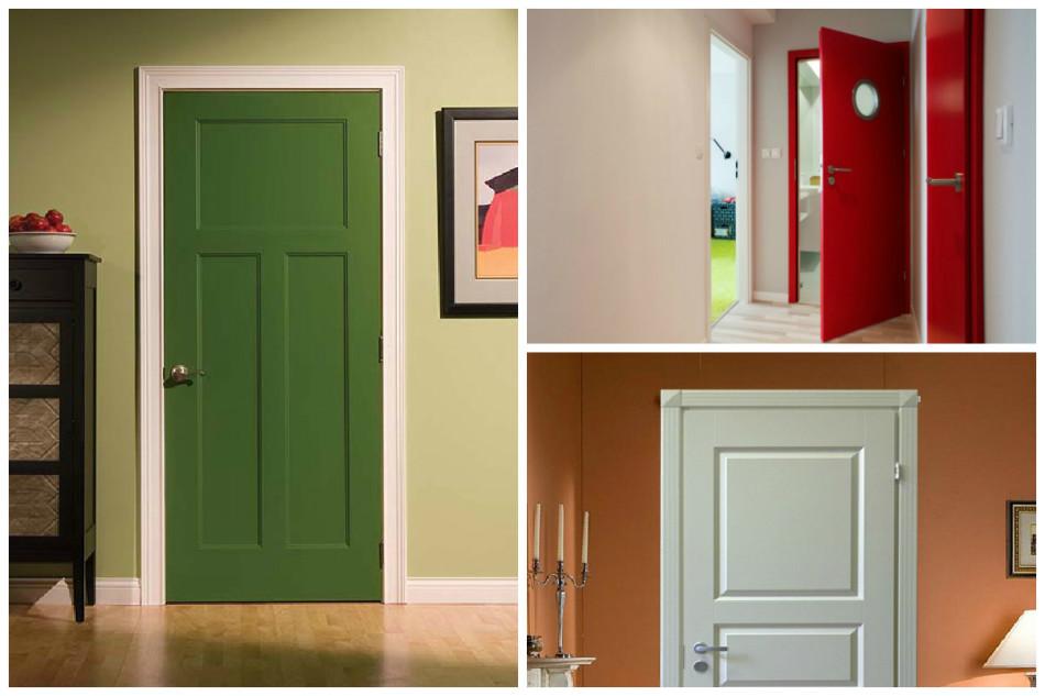 Старые филенчатые двери после обновления краской, варианты в декоре