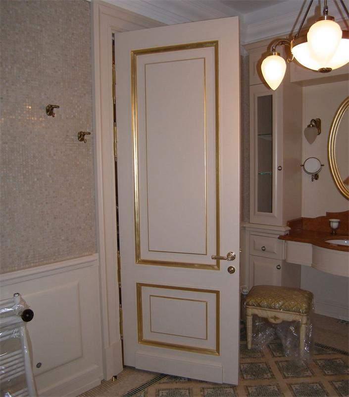 Варианты дизайна дверей в ванную комнату после обновления своими руками, пример 11