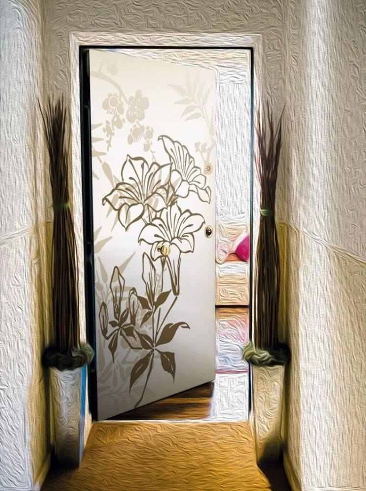 Варианты дизайна дверей в ванную комнату после обновления своими руками, пример 12